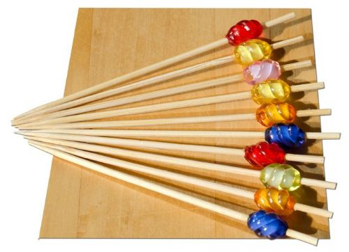 Multi coloured Swirl bead wood skewer 9cm x100 - GOTO